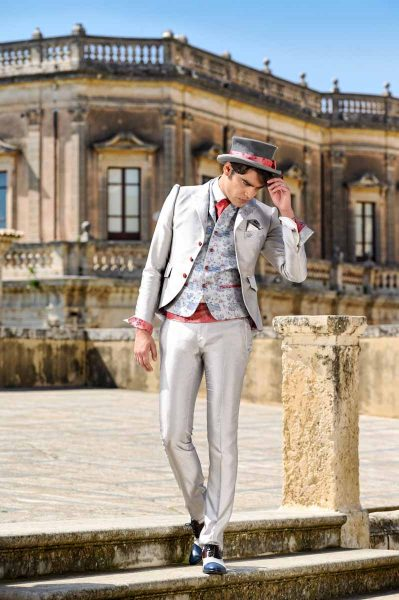 Pantalone abito da uomo glamour lusso grigio ghiaccio made in Italy 100% by Cleofe Finati