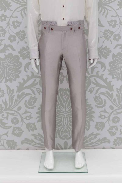 Glamorous luxury men's suit trousers ice grey 100% made in Italy by Cleofe Finati