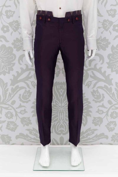 Glamorous luxury men's suit trousers blue red 100% made in Italy by Cleofe Finati