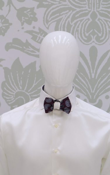 Blue white double dandy bow tie fashion wedding suit lightning blue 100% made in Italy by Cleofe Finati