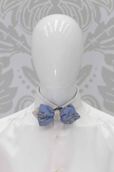 Dandy double light blue gold bow tie black fashion wedding suit 100% made in Italy by Cleofe Finati