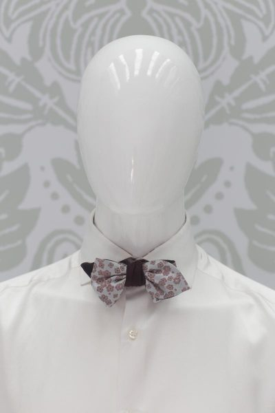 Double bow tie silver point fashion wedding suit burgundy 100% made in Italy by Cleofe Finati