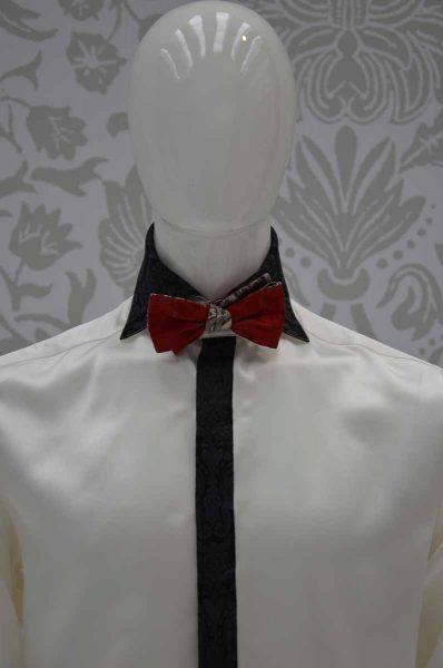 Papillon dandy rosso rubino nero e grigio perla abito da uomo glamour nero rosso rubino ecru made in Italy 100% by Cleofe Finati
