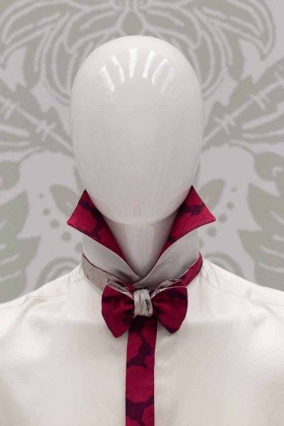 Bordeaux white dandy burgundy bow tie glamour men's suit pomace burgundy turquoise 100% made in Italy by Cleofe Finati
