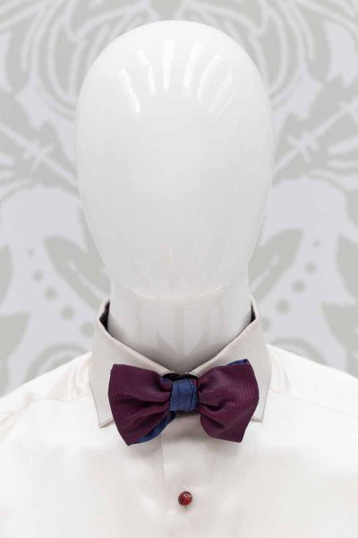 Bow tie burgundy blue dandy men's suit glamour burgundy red maroon 100% made in Italy by Cleofe Finati