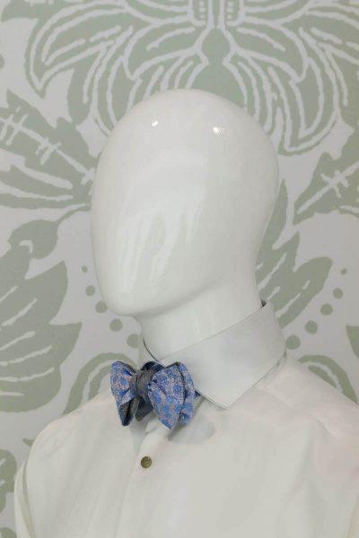 Papillon dandy azzurro sabbia abito da uomo glamour azzurro bianco made in Italy 100% by Cleofe Finati