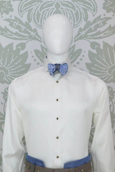 Light blue beige pointed bow tie glamour men's suit white light blue 100% made in Italy by Cleofe Finati