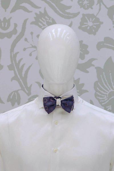 Papillon dandy double bordeaux azzurro silver abito da sposo fashion bordeaux made in Italy 100% by Cleofe Finati