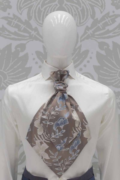 Sand light blue Ascot fashion wedding suit serenity blue 100% made in Italy by Cleofe Finati
