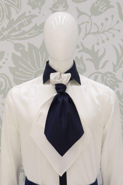 Plastron blu bianco abito da sposo classico blu intenso made in Italy 100% by Cleofe Finati