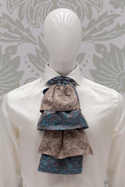 Plastron dandy azzurro beige abito da uomo glamour bianco azzurro made in Italy 100% by Cleofe Finati