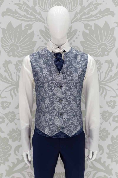 Ascot blue white fashion wedding suit lightning blue 100% made in Italy by Cleofe Finati