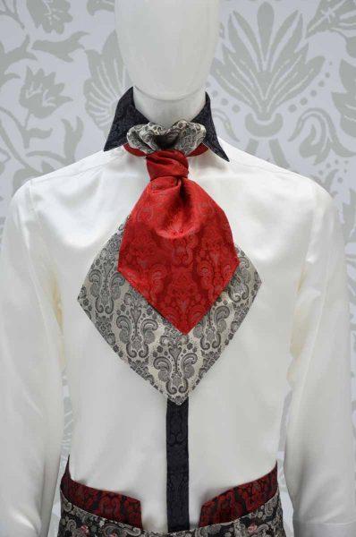 Plastron double rosso rubino nero e grigio perla abito da uomo glamour nero rosso rubino ecru made in Italy 100% by Cleofe Finati
