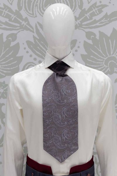 Grey dandy Ascot glamour men's suit lead and red 100% made in Italy by Cleofe Finati