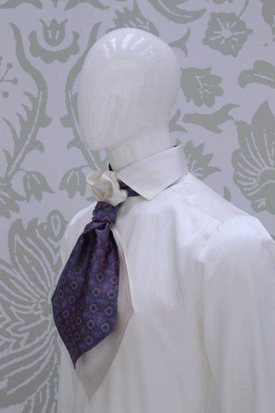 Plastron bordeaux azzurro silver abito da sposo fashion bordeaux made in Italy 100% by Cleofe Finati