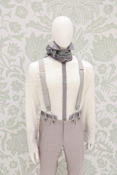 Plastron dandy rosa e salvia abito da uomo glamour made in Italy 100% by Cleofe Finati