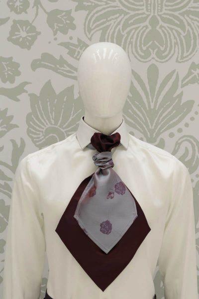 Plastron dandy bordeaux abito da uomo glamour bordeaux blu made in Italy 100% by Cleofe Finati