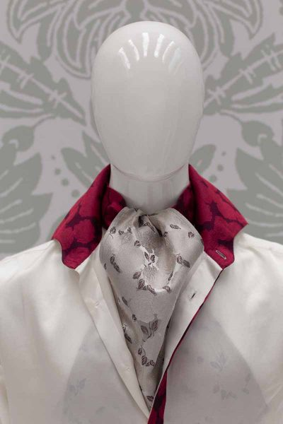 Ascot dandy white burgundy glamour men's suit pomace burgundy turquoise 100% made in Italy by Cleofe Finati