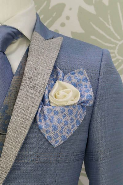 Double pocketchief sand white glamour men's suit white light blue 100% made in Italy by Cleofe Finati