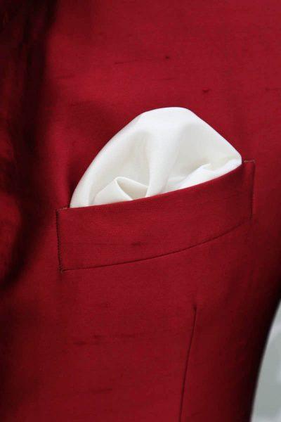 Fazzoletto pochette bianco abito da uomo glamour rosso made in Italy 100% by Cleofe Finati