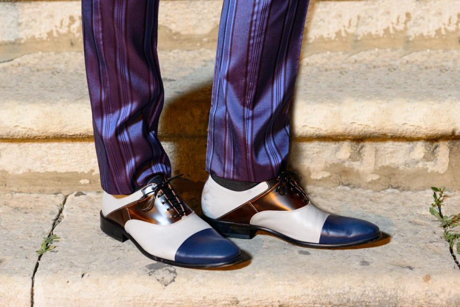 Blue white and red lace-up shoes burgundy glamour men's suit blue burgundy 100% made in Italy by Cleofe Finati