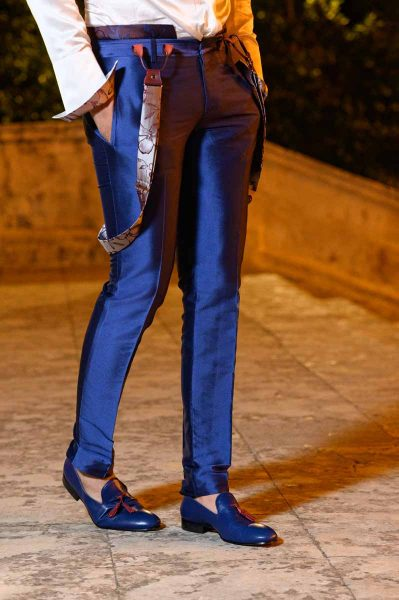 Mocassini in pelle blu abito da uomo glamour blu made in Italy 100% by Cleofe Finati