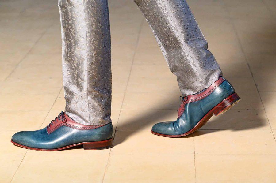 Abito da uomo lusso glamour grigio in micro Pied de Poule made in Italy 100% by Cleofe Finati