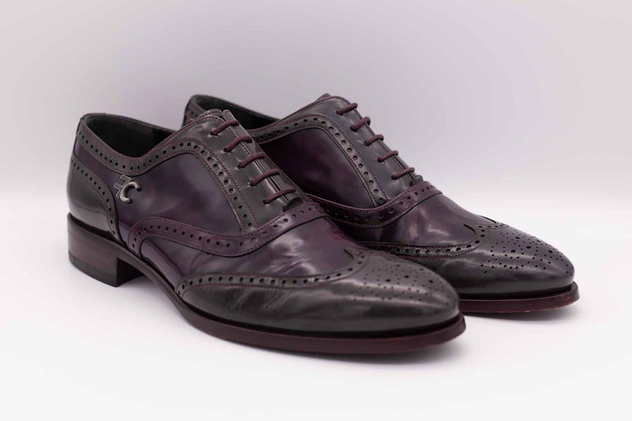 Grey plum men's lace-up shoes fashion burgundy wedding suit 100% made in Italy by Cleofe Finati