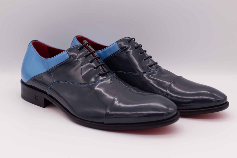 Light blue and grey men's lace-up shoes fashion wedding suit serenity blue 100% made in Italy by Cleofe Finati