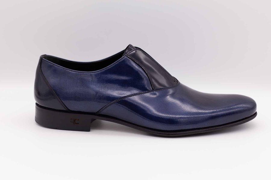 Navy blue shoe slippers fashion lightning blue wedding suit 100% made in Italy by Cleofe Finati