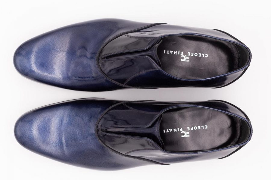 Navy blue shoe slippers sky blue fashion wedding suit 100% made in Italy by Cleofe Finati