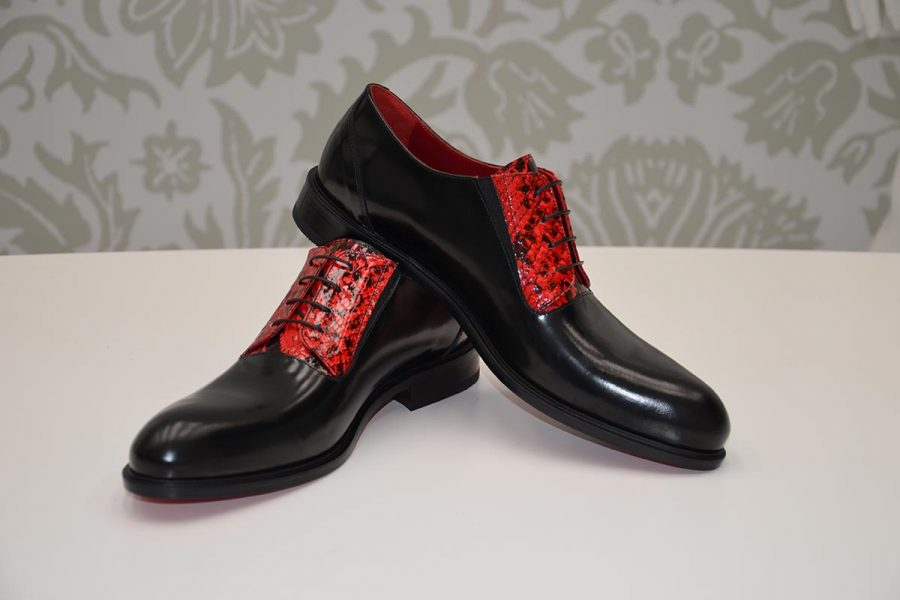 Red and black lace-up shoes glamour men's suit black ruby red ecru 100% made in Italy by Cleofe Finati