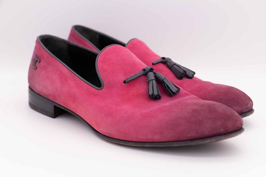 Mocassini in pelle scamosciata rosa abito da uomo glamour vinaccia bordeaux turchese made in Italy 100% by Cleofe Finati