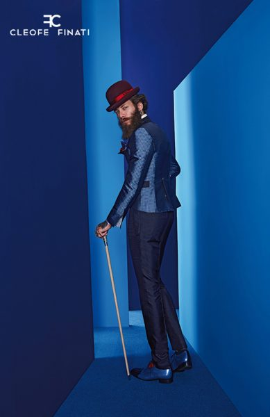 Glamorous luxury men's suit in light blue and midnight blue 100% made in Italy by Cleofe Finati