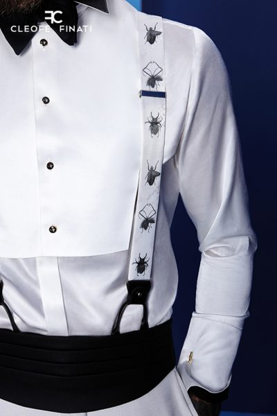 Glamorous luxury men's suit silver white and black 100% made in Italy by Cleofe Finati