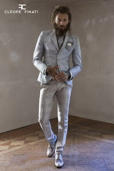 Abito da uomo glamour lusso Principe di Galles azzurro sabbia e bianco made in Italy 100% by Cleofe Finati