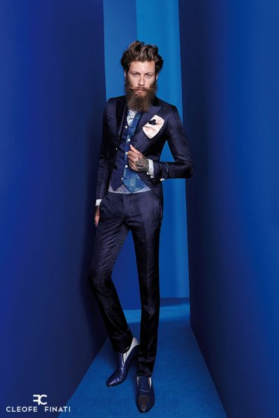 Luxury glamour men's suit midnight blue 100% made in Italy by Cleofe Finati