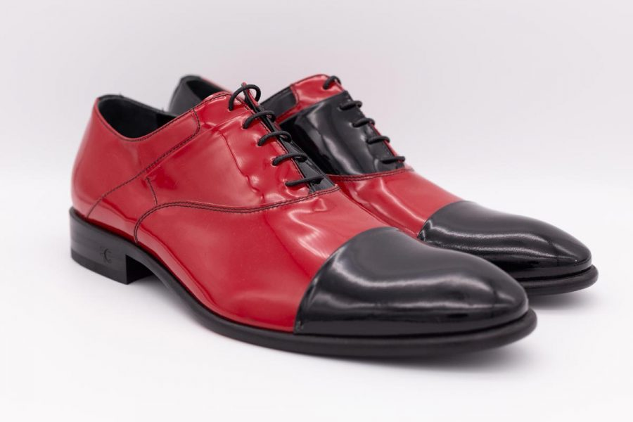 Red and black lace-up shoes glamour men's suit blue grey 100% made in Italy by Cleofe Finati
