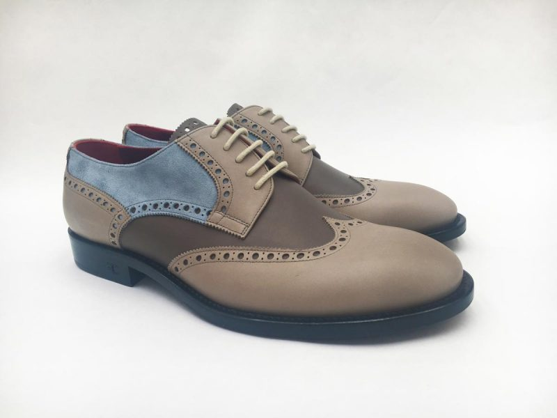 Cream sand and light blue lace-up shoes glamour men's suit vichy white and sand 100% made in Italy by Cleofe Finati