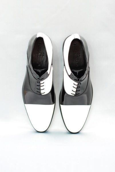White and black lace-up shoes glamour men's suit black and silver white 100% made in Italy by Cleofe Finati
