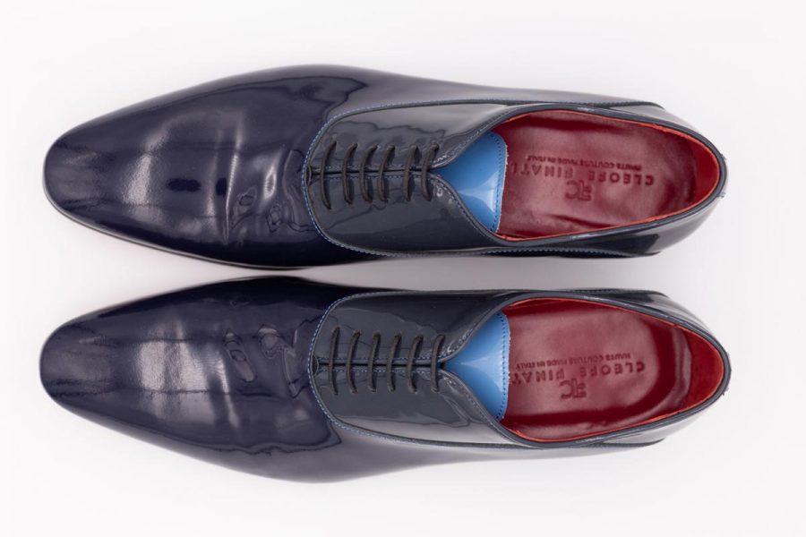Scarpe stringate blu notte abito da uomo glamour grigio antracite e turchese made in Italy 100% by Cleofe Finati