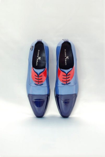 Scarpe stringate azzurro abito da uomo glamour azzurro e blu notte made in Italy 100% by Cleofe Finati