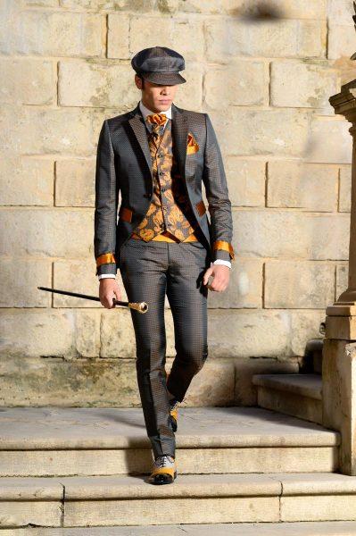 Abito da uomo glamour lusso quadrettato grigio antracite ocra oro made in Italy 100% by Cleofe Finati