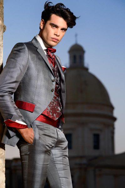 Abito da uomo glamour lusso Principe di Galles grigio rosso made in Italy 100% by Cleofe Finati