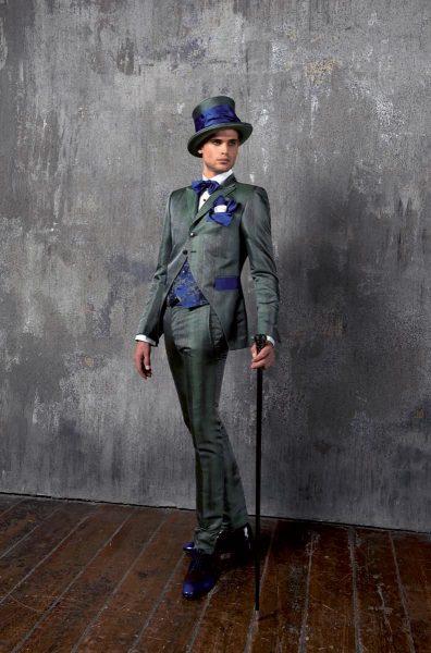 Abito da uomo glamour lusso Principe di Galles grigio blu made in Italy 100% by Cleofe Finati