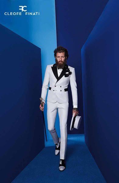 Scarpe stringate bianco e nero abito da uomo glamour bianco silver e nero made in Italy 100% by Cleofe Finati