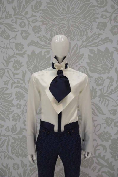 Plastron double bianco e blu notte abito da uomo glamour blu notte made in Italy 100% by Cleofe Finati
