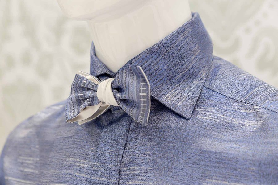 Light blue dandy bow tie glamour men's suit cobalt blue 100% made in Italy by Cleofe Finati