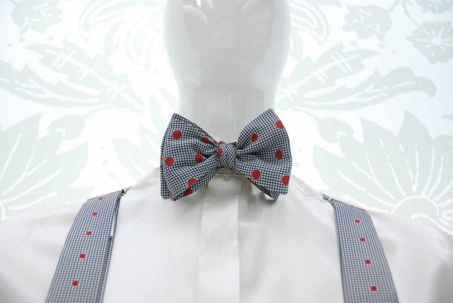 Papillon in Pied de Poule abito da uomo glamour bianco e nero made in Italy 100% by Cleofe Finati