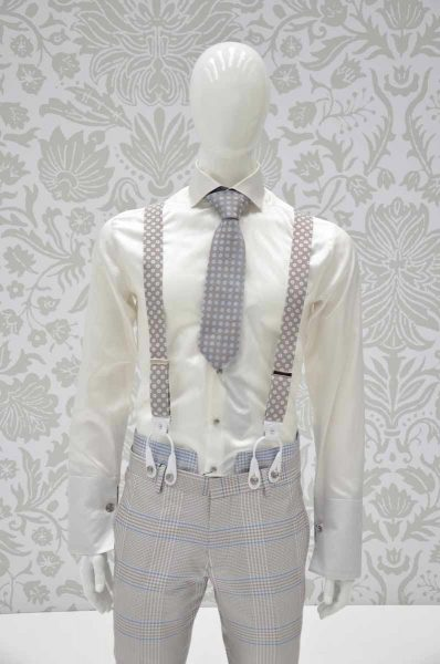 Glamour luxury men's suit Prince of Wales light blue sand and white 100% made in Italy by Cleofe Finati